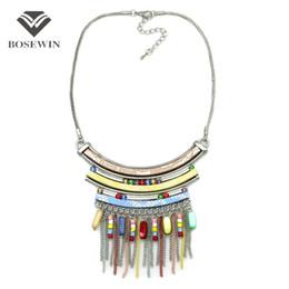 Wholesale Necklace Bohemian Tassel - Women Bohemia Accessories Statement Necklace For Women fashion Leather Silver Chain Acrylic Tassel Pendant Choker New Maxi Jewelry