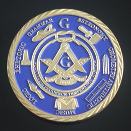 Wholesale Rare Metal Coin - Pack of 2 Freemason Commemorative Coin Beautyful Rare Gold Plated Medal Masonic Collectible Special Gift Present