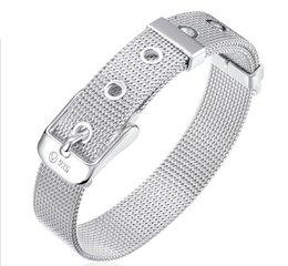 Wholesale Belted Bangle Bracelet - unisex jewelry 925 plating silver The belt buckle bracelets free shipping