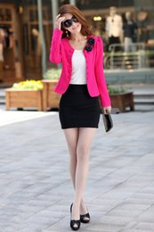 Wholesale Three Quarter Sleeve Suit Jacket - Women's o-neck blazer double breasted blazer red slim short jacket trench Three Quarter suits plus size free shipping