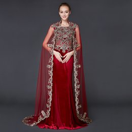 Wholesale Evening Dress Trumpet Embroidery - New Hot Selling Red 2017 Square Trumpet Embroidery Applique Taffeta Cap Sleeve Floor Length Formal Evening Party Evening Dresses With Wrap