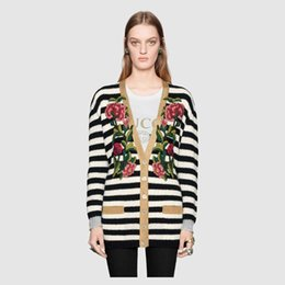 Wholesale Cheap Black Cardigan Women - 2017 big luxury brands with Guc cardigan knitted coat embroidered sweater wholesale price top quality cheap price selling