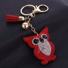Wholesale Owl Leather Bag - Cute Owl Pendant Leather Key Chain Car Key Ring Holder Gold Color Bag Keychain Gift For Girls 6 Colors Rhinestone Key Chains