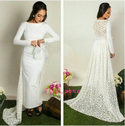 Wholesale Two Piece Lace Sheath - Vintage Ankle Length 2016 Sheath Lace Evening Dresses with Detachable Train Crew Neck Long Sleeve Two Pieces Arabic Oscar Prom Party Gowns
