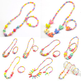Wholesale kids beads bracelet - PrettyBaby children jewelry sets for girls gifts kid necklace set for girl Round Beads Colorful Necklace bracelet set Cheap Necklaces