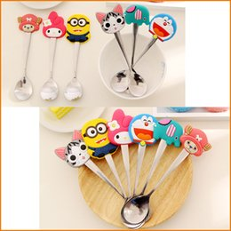 Wholesale Spoons Desserts Stainless - Cartoon Silicone Handles Stainless Steel Spoon   ice cream Dessert Spoon Stirring Coffee Spoon Creative Tableware For Kids