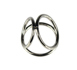 Wholesale triple cock rings - Free shipping Men Metal Penis Delay Cock Ring Triple Stainless Steel Cock Ball Stretcher Delay Ring