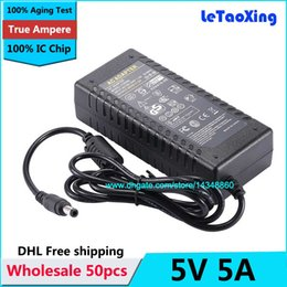 Wholesale 5v 4a Dc Power Adapters - 50pcs AC DC 5V 5A Power Supply 30W Adapter 4A Charger Transformer For LED Strip Light CCTV Camera With IC Chip Free shipping