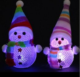 Wholesale Led Color Changing Snowman - Color Changing LED Snowman Christmas Decorate Mood Lamp Night Light Xmas Tree Hanging Ornament HJIA751