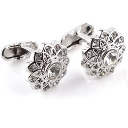 Wholesale Hollow Flower Cuff - High Quality Creative Novelty Vintage Hollow Flower Shape Crystal Cufflinks Business Gifts Exquisite Cuff Links Button 6