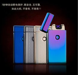 Wholesale Arc Shipping - 200PCS USB charging lighter windproof slim double arc pulsed arc creative personality electronic cigarette lighter free shipping 10 colors