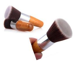 Wholesale Flat Kabuki - Professional Makeup Brush Flat Top Brush Foundation Powder beauty Brush Cosmetic Make up brushesTool Wooden Kabuki Make-up Brush