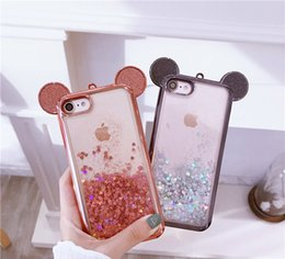 Wholesale Cover For Iphone Mouse - for iPhone 6s plus Case Glitter Cute Animal Mouse ear Liquid Quicksand TPU Cover for iPhone 6 6s 7 7 Plus