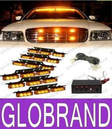 Wholesale Led Deck Lights Strobe - Amber White White &Amber 54 LED Emergency Vehicle Strobe Flash Lights for Front Deck Grille or Rear light flash GLO381
