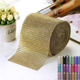 "Wholesale Wholesale Yards Bling - hot 4.75 "" 1 yards Wedding Wrap mesh bling ribbon home table party decorations Rhinestone Crystal gold Diamond Mesh DIY MYY"