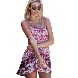 Vente en gros- Vestidos Casual Femmes Summer Dress 2017 Robe Rétro Floral Print Boho Beach Dress Plus La Taille Des Femmes Vêtements Backless Dress WY-01 ? partir de fabricateur