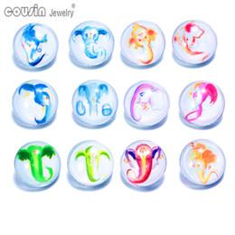 Wholesale Bracelet Art - 12pcs lot Mixed Colors Art Elephant 18mm snap button Jewelry Faceted glass Snap Fit snap Bracelet Jewelry KZ0110