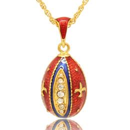 """Fleur lis chain онлайн-Fleur de lis Фаберже яйцо форма ожерелье европейская мода русский яйцо стиль 16 """" золотое покрытие цепи включены"""