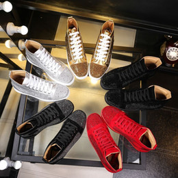 Wholesale Designer Branded Shoes - Wholesale 2017 men women rhinestone high top shoes loubuten designer brand red bottom Sneakers mens loubis shoes with box and dustbag