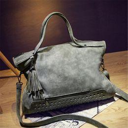 Wholesale Big Messenger Bags - New Handbag Totes Women's Rivet Female Messenger Bag Big Brand Shoulder Bags Scrub Handbag Women's Bag Ladies Handbag