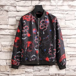 Wholesale Slim Mens Biker Jacket - 2017 Hot Sale Autumn And Winter Fashion Male Loose Coat Wind Flowers And Mens Jackets For Biker Jacket Men Windbreakers