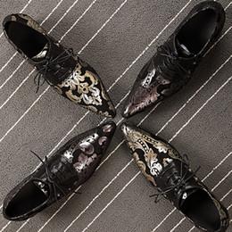 Wholesale Men Korea Shoes - Korea style men's leather Patch Gold toes lace Oxford shoe black champagne prints classic man party wedding