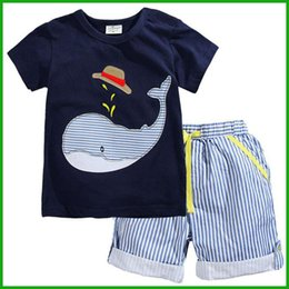 Wholesale Korean Style Striped Shirt - baby boys girls suits korean style short t-shirt cap water shark printed striped short pants summer children clothing sets