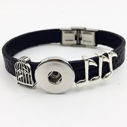 Wholesale One Direction Music - Fashion Real Rushed Pave Setting One Direction Bracelet Watch Music Retro Leather Snap Button Bracelet Bt103 ( Fit 18mm 20mm Snaps) party dr