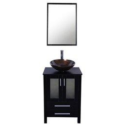 Wholesale Glass Sink Tops - 24 inch Bathroom Vanity Combo Modern MDF Cabinet with Vanity Mirror Tempered Glass Counter Top Vessel Sink with 1.5 GPM Faucet and Drain