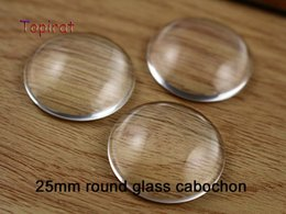Wholesale Cabochon Transparent - Wholesale DIY diameter 25mm Clear Transparent Domed Round Flat Back Crystal Glass Cabochon Fit Cameo Settings 50pcs