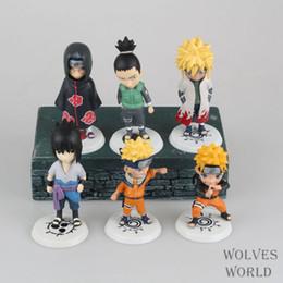 Wholesale Japanese Naruto Toys - 6pcs set Anime Japanese Catoon Naruto Q version Sasuke Kakashi Action Figure Collectible Model Toy