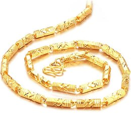 Wholesale Singapore Fines - Fine Necklace 18K Gold Plated Men's Necklace Classic Figaro Chain GOLD Europe  African Necklaces, factory price