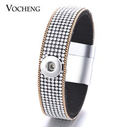 Wholesale Soft Magnets - VOCHENG NOOSA Soft Fabric 1-Snap Bracelet Inlaid Crystal&Gold Plated Chain 12mm Magnet Clasp Interchangeable Button Jewelry NN-414