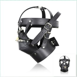 Wholesale Male Sex Toys Masks - New Black Leather SM Slave Sex Toys Head Mask for Male Adult Sex Product Cosplay Dress Men Gays Fetish Bondage Head Hoods