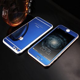 Wholesale Wholesale Full Body Mirror - Front Back Full Cover Tempered glass Plating Screen Protector Film Colorful Mirror Fashion Protective Film For iPhone 5s 6 6s plus