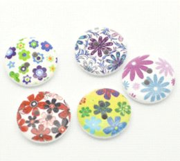 Wholesale Sewing Buttons 18mm - 2015 NEW 100 Mixed Multicolor Flower 2 Holes Round Wood Sewing Buttons 18mm B17589 HOT sale New Arrival M65062
