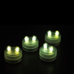 Wholesale Submersible Centerpiece Lights - Edison2011 2016 Sale Wedding Decoration 40pcs Super Bright Double Led Submersible Floralyte Tea Light Centerpiece Flower Decor Colorful