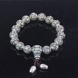 Wholesale Religious Easter - Authentic 999 Sterling Silver Religious Scripture Beaded Bracelet Men Bracelets China Style Silver Bracelets Wholesale YSB005