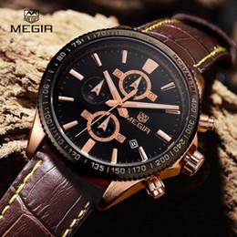 Wholesale Wholesale Stop Watch - Megir fashion leather stop watch man casual luminous brand quratz watches men's wrist watch chronograph hour for male 3001