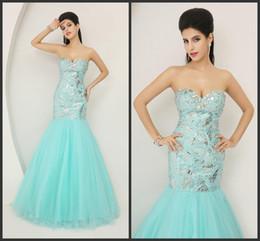 Wholesale Inexpensive Sequin Dresses - Elegant Evening Dresses Mermaid Sequin Bodice Blue Prom Dresses Golden Sweetheart Crystals Floor Length Dresses Inexpensive