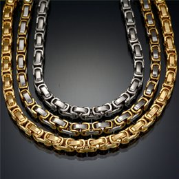 Wholesale Gold Plated Byzantine Necklace - Wholesale Fashion Never Fade Stainless Steel Necklace Byzantine Gold Silver Chain Statement Necklace For Party Gift