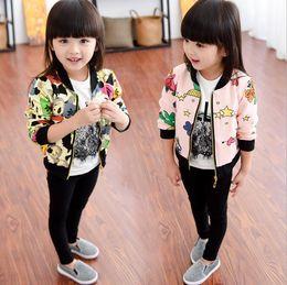 giacca delle ragazze di stampa del fumetto Sconti New Autumn Girls Cotton Jacket Bambini Cartoon Star Panda stampato Outwear Cappotto uniforme da baseball Bambini Cardigan Giacche Cappotti 12152