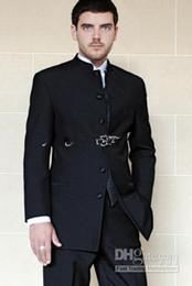 Wholesale Stand Colar - Mens Suit Men Wedding Suits Tailor Wedding Suit Popular Wedding Suit Stand Colar Suit Black