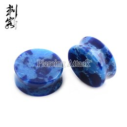 Wholesale Tunnel 5mm - Free Shipping Dark Blue Agate Organic Stone Ear Plugs Flesh Tunnels Sizes from 5mm-12mm Lot of 10pcs