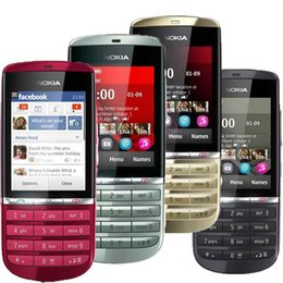 Wholesale Bar Type Phones - NOKIA Asha 300 Original Bluetooth 3G Unlocked GPS Touch Screen & Type Camera 5MP Smartphone Bar Mobile Phone
