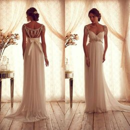 Wholesale Short Sleeve Tassel Dress - Anna Campbell Cheap Chiffon Wedding Dresses Bridal Gowns Modest Crystal Beaded Short Cap Sleeves A Line Empire Maternity Beach Wedding Gowns