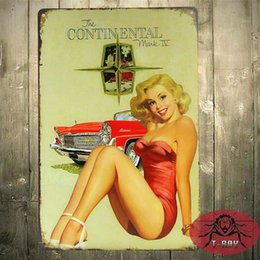 Wholesale Sexy Bar Paintings - Classic Red car with sexy girl Metal Tin Signs Bar Antique Metal Painting Decor for Home Club H-05 160909#