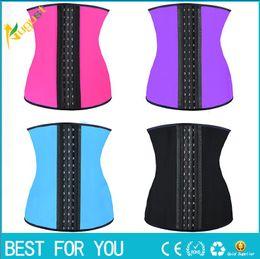 Wholesale Latex Training Waist Corset Wholesale - 9 steel bone Latex Rubber corset body shaper Waist Trainer training corsets Corset Latex Corset Latex Waist CincherSlimming Shapewear 2015