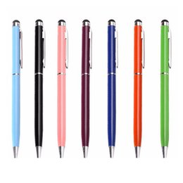 Wholesale Metal Mini Stylus - Best Metal 2in1 Stylus Ballpoint Pen Colorful Touch Pen Bullet mini metal capacitive touch Pen ballpoint writing pen DHL Free