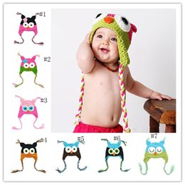 Wholesale crocheted owl hats - Winter Baby owl Knitted Hat Infant cartoon Caps toddler Outdoor warmth hats fit 0-1T C2798